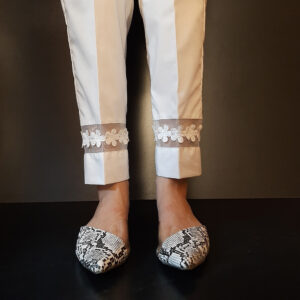 Lace Embellised Cotton Trouser Pant White