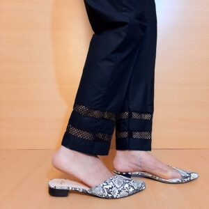 Laces Embelished Trouser Cotton Black