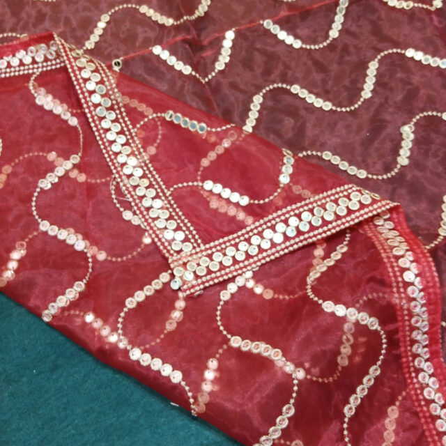 Mirror Work Organza Dupatta Large