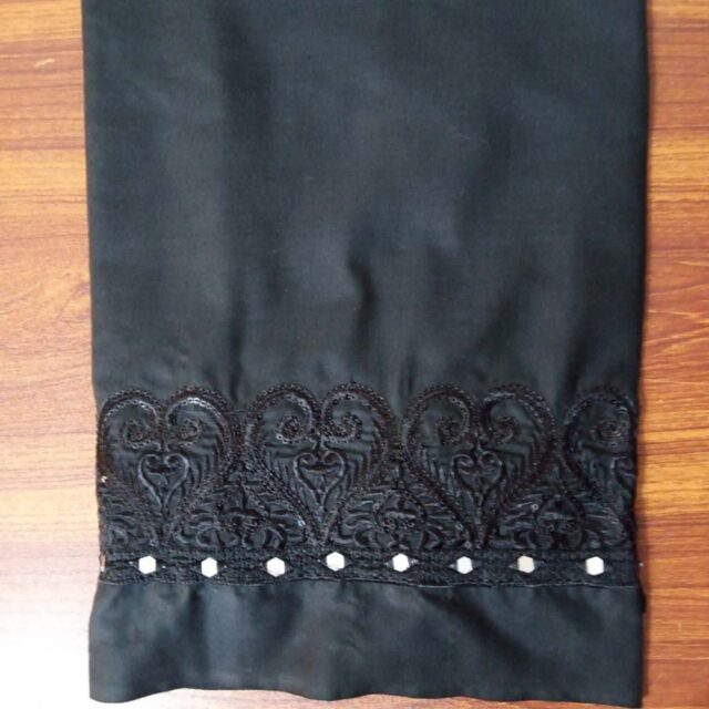 Unstitched Mirror Work Embroided Trouser Fabric Cotton 2 Yard
