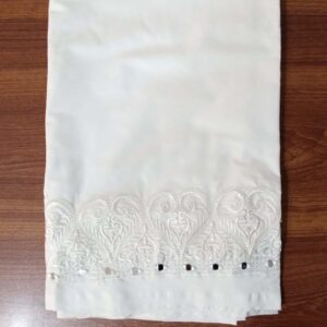 Unstitched Mirror Work Embroided Trouser Fabric Cotton 2 Yard White