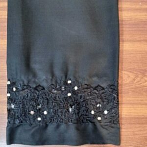 Unstitched - Mirror Work Embroided Trouser Fabric Black