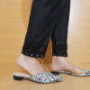 Mirror Work Embroided Cotton Trouser Black