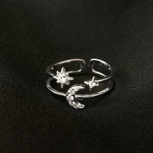 Adjustable Star Moon Ring