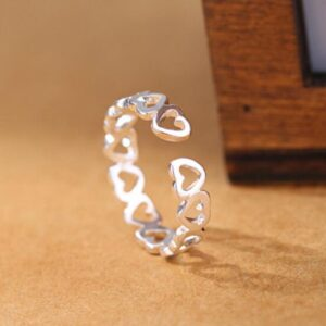 Adjustable silver Hearts Ring