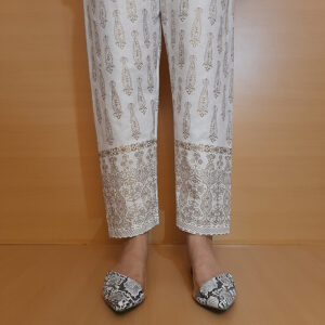 Block Print Cotton Trouser Pant White Gold