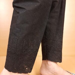 Chikankari Cotton Trouser Black