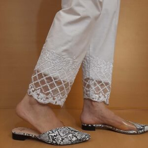 Embroided Cotton Trouser White