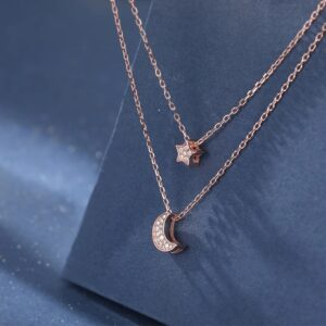 Rose Gold Double Layer Star Moon Necklace