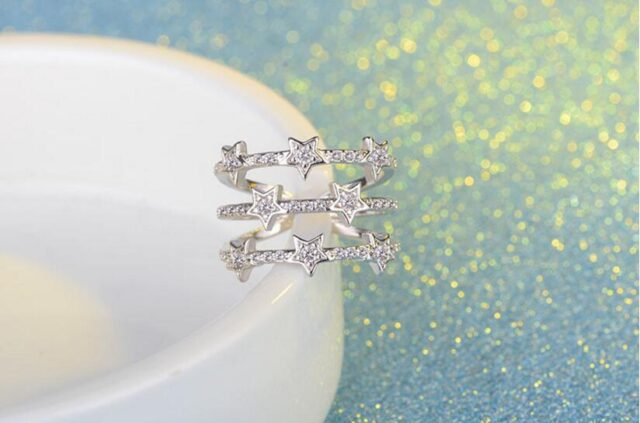Adjustable Star Ring Silver