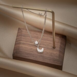 Silver Double Layer Star Moon Necklace
