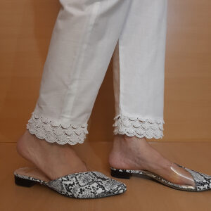 Cotton Trouser With Bottom Lace White