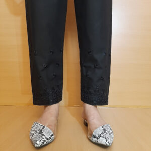 Embroided Trouser Black Cotton