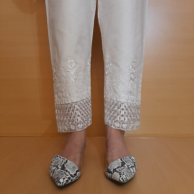 Embroided Trouser White Cotton