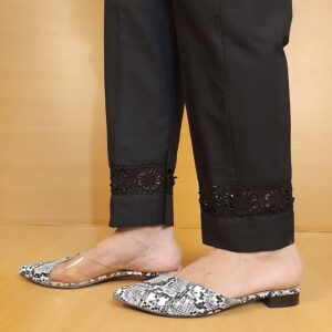 Lace Embelished Trouser Cotton Black