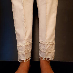 Lace Embelished Trouser Cotton White