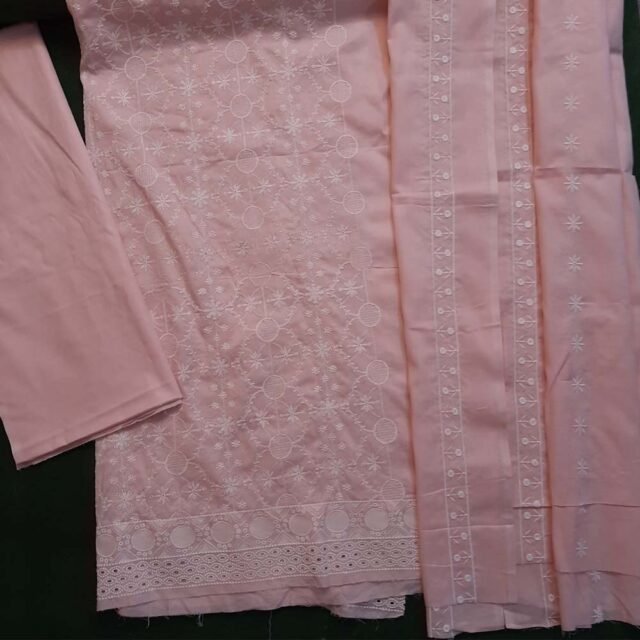 3 Piece Unstitched Embroided Chikan Suit cotton Pink