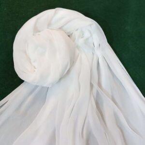 White Chiffon Dupatta With Bottom Lace
