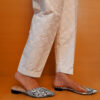 Embossed Cotton Trouser White