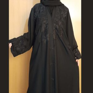Embroided Front Open Abaya With Stole