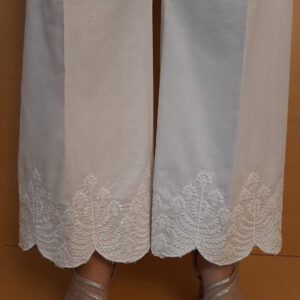Embroided Sequence Cotton Palazzo White