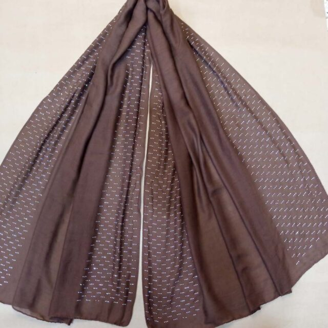 Stud Lawn Scarf Stole – 190 x 80 Cm - Chocolate - ZSC101