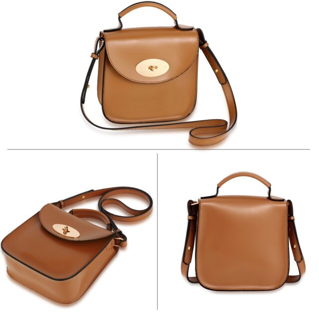 Khaki Flap Twist Lock Cross Body Bag