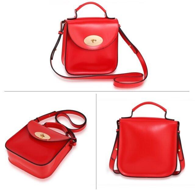 Red Flap Twist Lock Cross Body Bag
