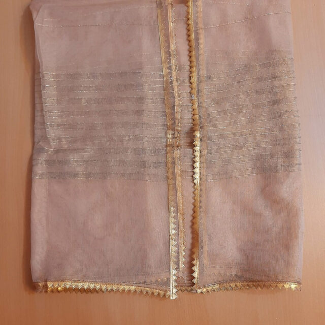 Khaadi Net - Gold Dupatta With 4 sided lace - ZD807 (1)