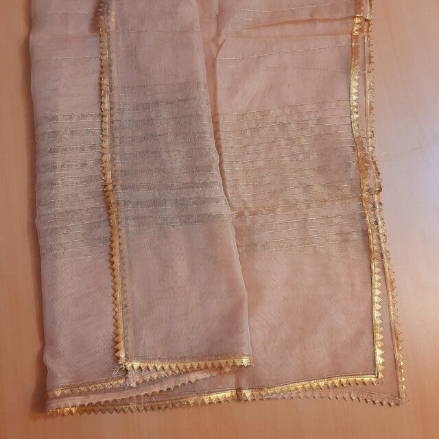 Khaadi Net - Gold Dupatta With 4 sided lace - ZD807 (2)
