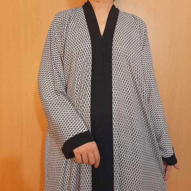 Printed Front Open Georgette Abaya