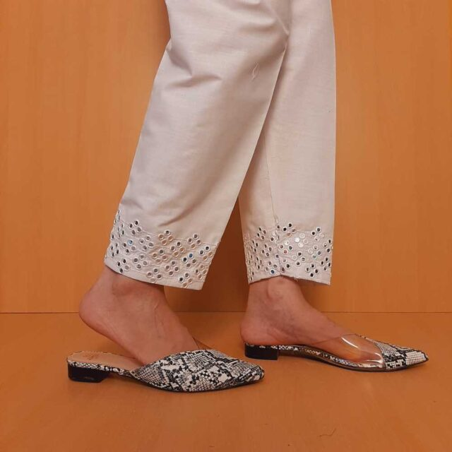 Artificial Mirror Work Embroided Cotton Trouser