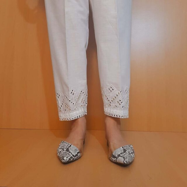 Artificial Mirror Work Embroided Cotton Trouser White