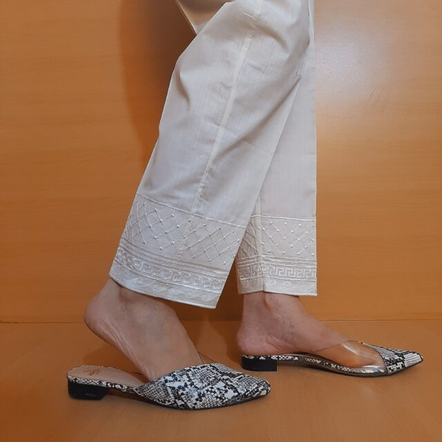 Embroided Cotton Trouser Of White