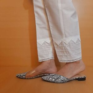 Laced Pintuck Cotton Trouser White