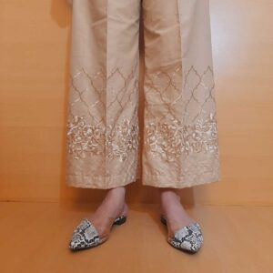 Embroided Cotton Plazzo Beige