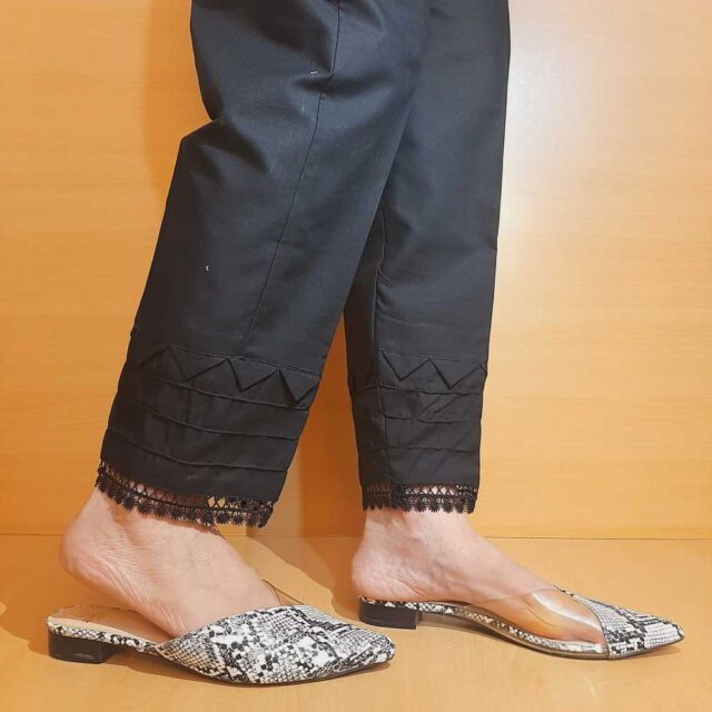 Laced Pintuck Cotton Trouser Black