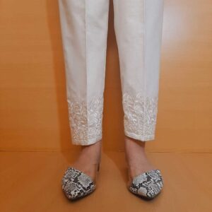Embroided Cotton Trouser Off White