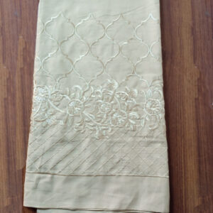 Unstitched Embroided Trouser Fabric Cotton 2 Yard Beige