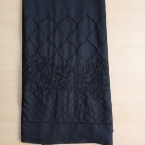 Unstitched Embroided Trouser Fabric Cotton 2 Yard Black