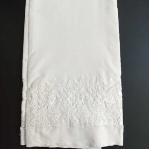 Unstitched Embroided Trouser Fabric Cotton 2 Yard White